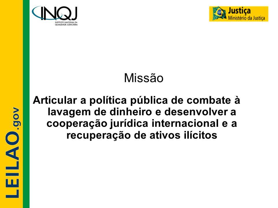 Missão Articular a política pública de combate à lavagem de dinheiro e desenvolver a cooperação jurídica internacional e a recuperação de ativos ilíci