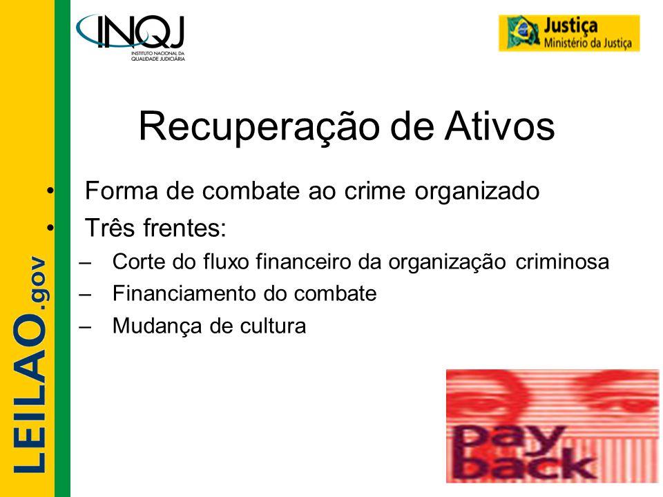 Recuperação de Ativos •Forma de combate ao crime organizado •Três frentes: –Corte do fluxo financeiro da organização criminosa –Financiamento do comba