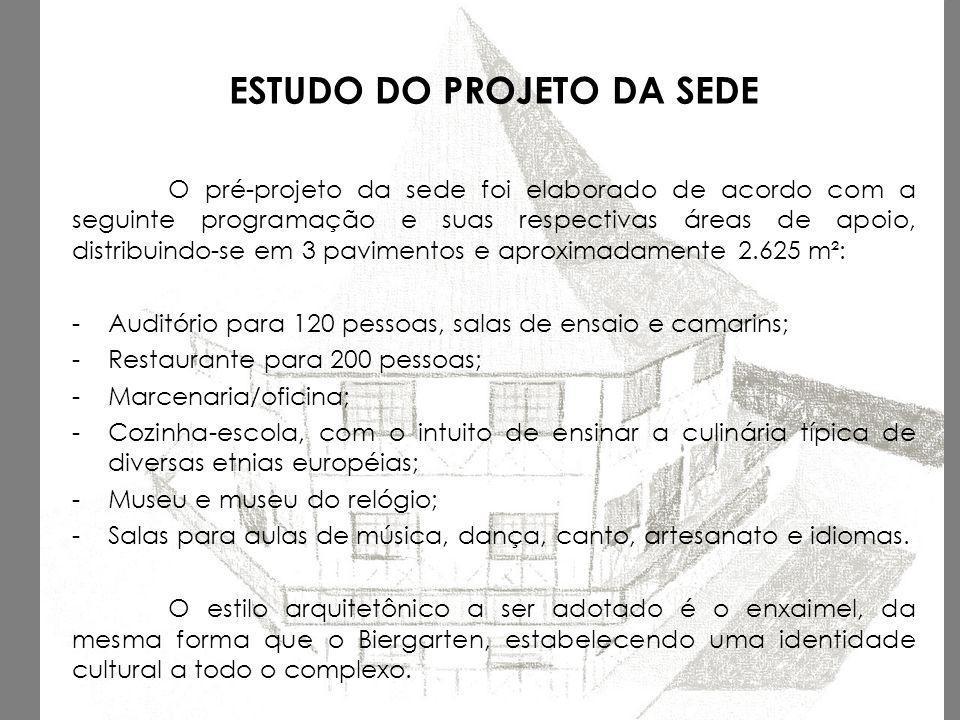 ESTUDO DO PROJETO DA SEDE O pré-projeto da sede foi elaborado de acordo com a seguinte programação e suas respectivas áreas de apoio, distribuindo-se