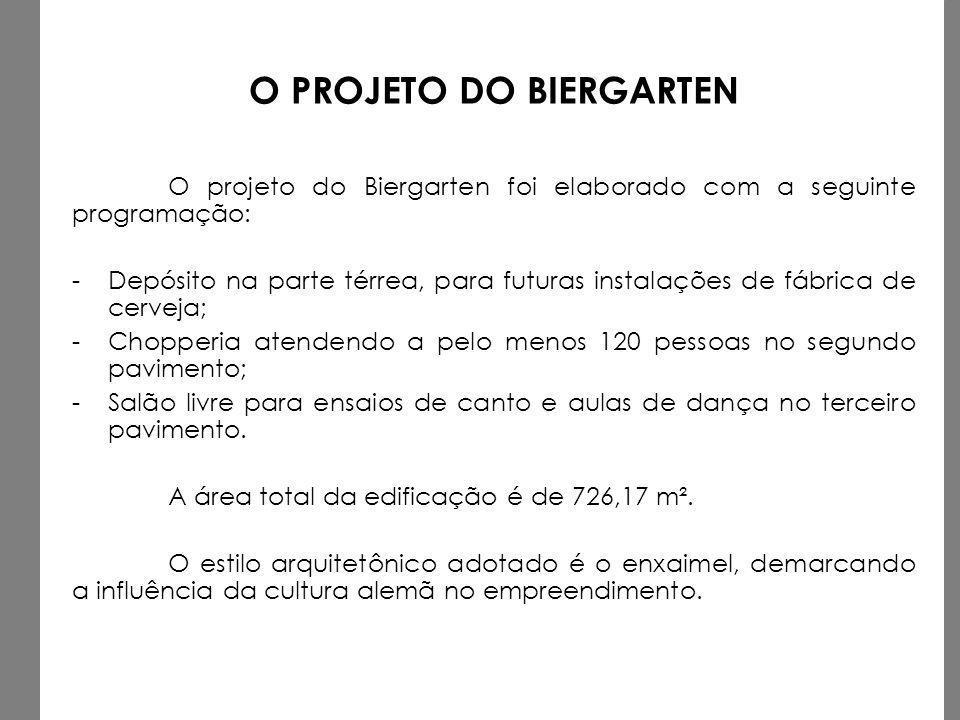 O PROJETO DO BIERGARTEN O projeto do Biergarten foi elaborado com a seguinte programação: -Depósito na parte térrea, para futuras instalações de fábri