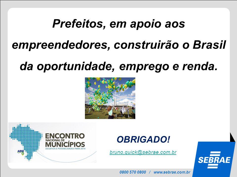 0800 570 0800 / www.sebrae.com.br OBRIGADO! bruno.quick@sebrae.com.br Prefeitos, em apoio aos empreendedores, construirão o Brasil da oportunidade, em