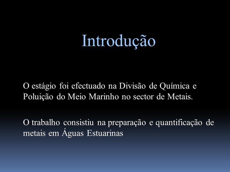 Introdução O estágio foi efectuado na Divisão de Química e Poluição do Meio Marinho no sector de Metais.
