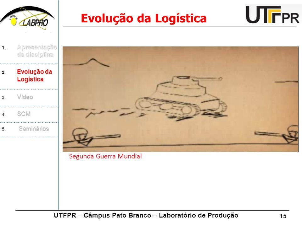 15 UTFPR – Câmpus Pato Branco – Laboratório de Produção Evolução da Logística 1. Apresentação da disciplina 2. Evolução da Logística 3. Vídeo 4. SCM 5