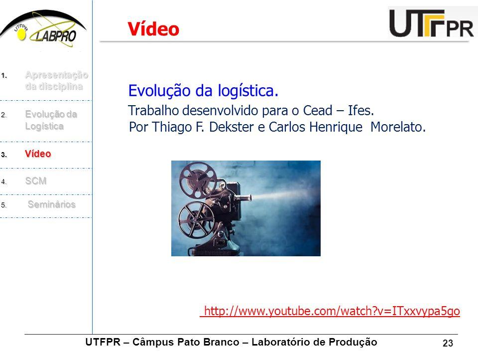 23 Evolução da logística. Trabalho desenvolvido para o Cead – Ifes. Por Thiago F. Dekster e Carlos Henrique Morelato. http://www.youtube.com/watch?v=I