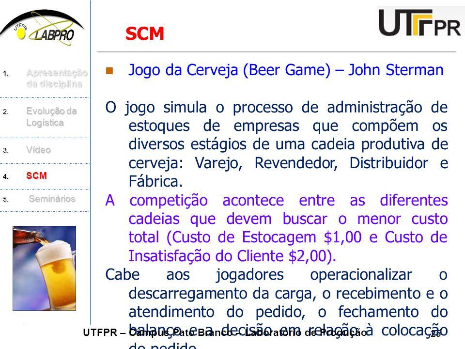 25  Jogo da Cerveja (Beer Game) – John Sterman O jogo simula o processo de administração de estoques de empresas que compõem os diversos estágios de