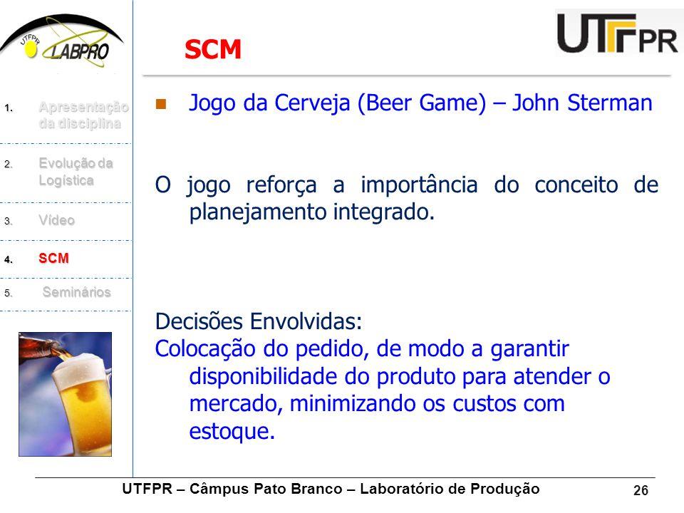 26  Jogo da Cerveja (Beer Game) – John Sterman O jogo reforça a importância do conceito de planejamento integrado. Decisões Envolvidas: Colocação do