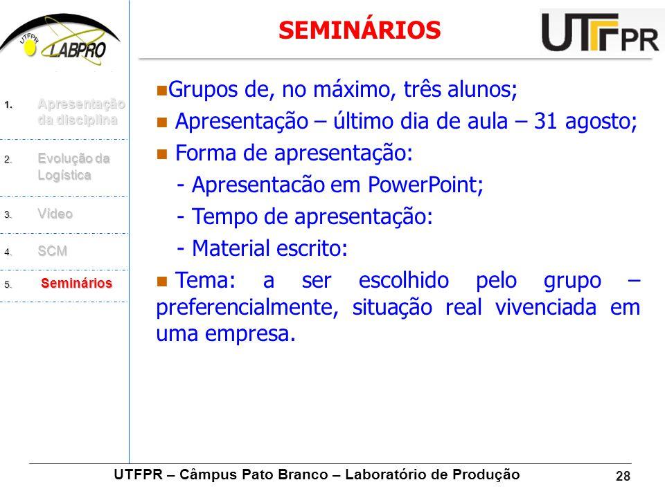 28  Grupos de, no máximo, três alunos;  Apresentação – último dia de aula – 31 agosto;  Forma de apresentação: - Apresentacão em PowerPoint; - Temp