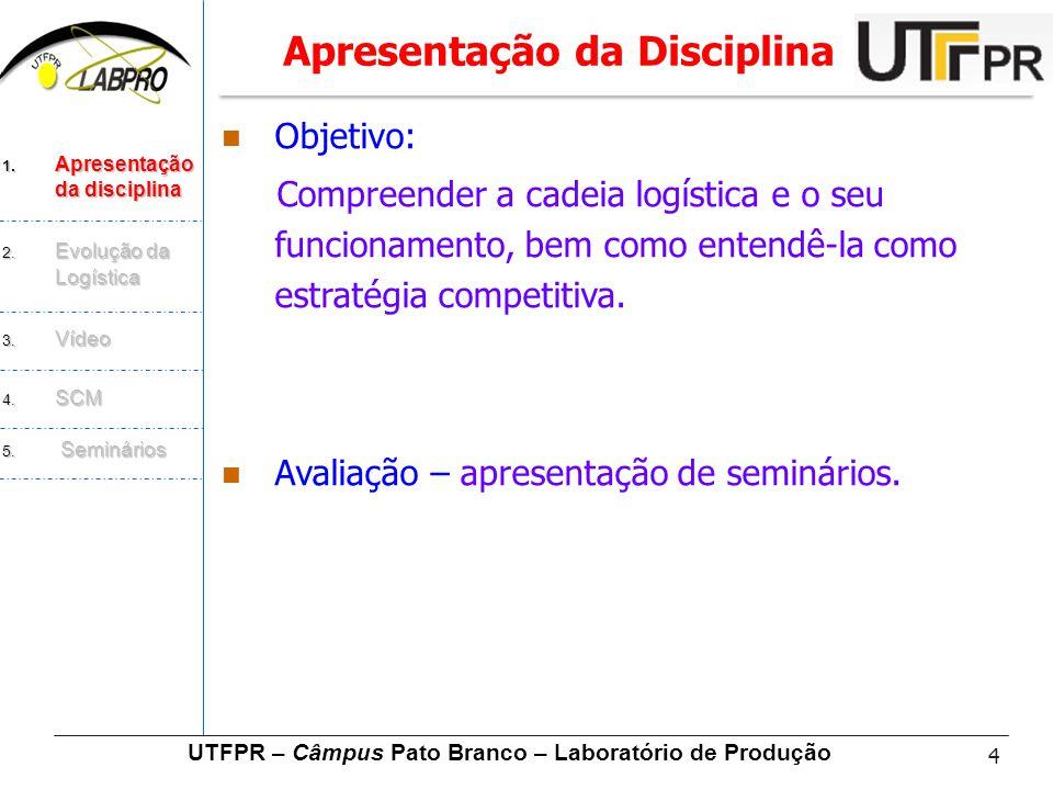 4  Objetivo: Compreender a cadeia logística e o seu funcionamento, bem como entendê-la como estratégia competitiva.  Avaliação – apresentação de sem