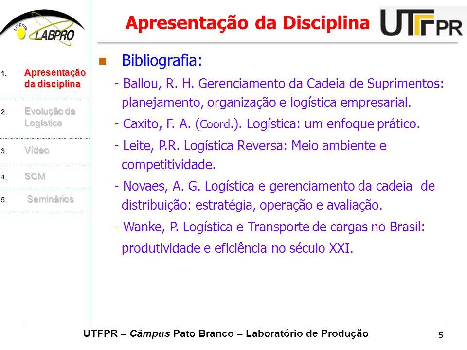 5  Bibliografia: - Ballou, R. H. Gerenciamento da Cadeia de Suprimentos: planejamento, organização e logística empresarial. - Caxito, F. A. ( Coord.)