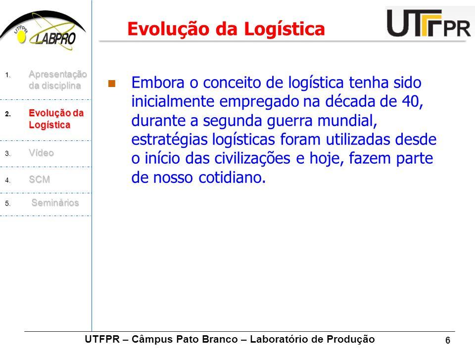 6  Embora o conceito de logística tenha sido inicialmente empregado na década de 40, durante a segunda guerra mundial, estratégias logísticas foram u