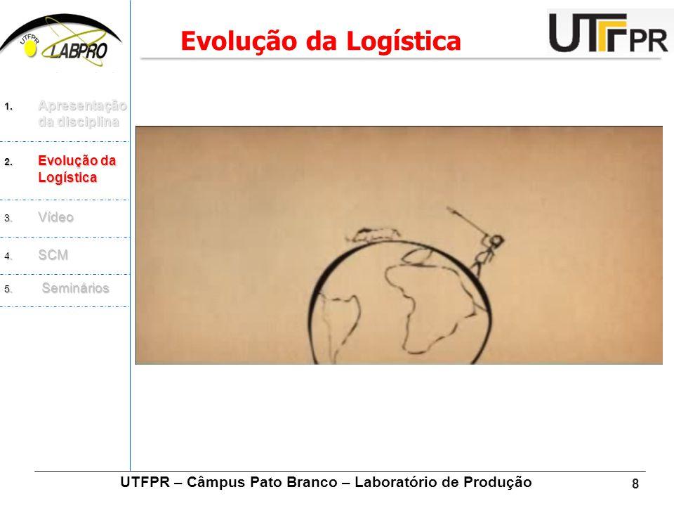 8 UTFPR – Câmpus Pato Branco – Laboratório de Produção Evolução da Logística 1. Apresentação da disciplina 2. Evolução da Logística 3. Vídeo 4. SCM 5.
