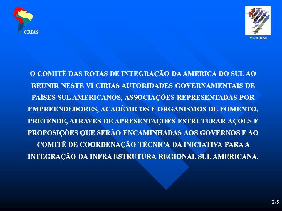 2/5 O COMITÊ DAS ROTAS DE INTEGRAÇÃO DA AMÉRICA DO SUL AO REUNIR NESTE VI CIRIAS AUTORIDADES GOVERNAMENTAIS DE PAÍSES SUL AMERICANOS, ASSOCIAÇÕES REPRESENTADAS POR EMPREENDEDORES, ACADÊMICOS E ORGANISMOS DE FOMENTO, PRETENDE, ATRAVÉS DE APRESENTAÇÕES ESTRUTURAR AÇÕES E PROPOSIÇÕES QUE SERÃO ENCAMINHADAS AOS GOVERNOS E AO COMITÊ DE COORDENAÇÃO TÉCNICA DA INICIATIVA PARA A INTEGRAÇÃO DA INFRA ESTRUTURA REGIONAL SUL AMERICANA.