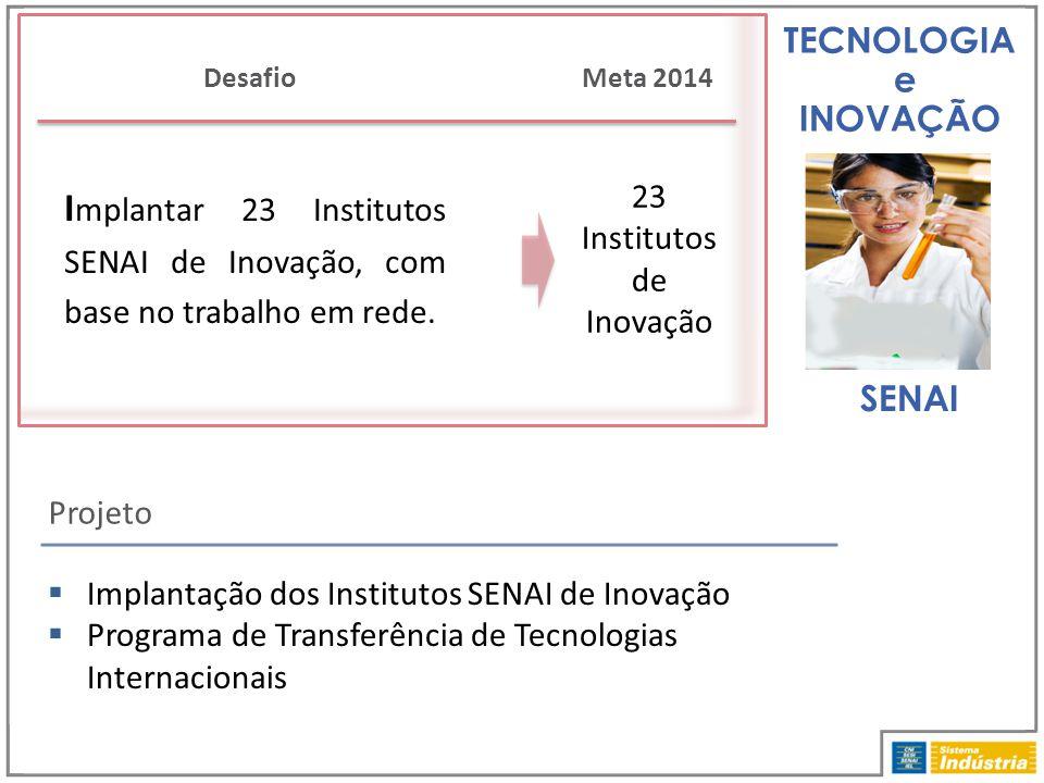 TECNOLOGIA e INOVAÇÃO Projeto Desafio  Implantação dos Institutos SENAI de Inovação  Programa de Transferência de Tecnologias Internacionais SENAI M