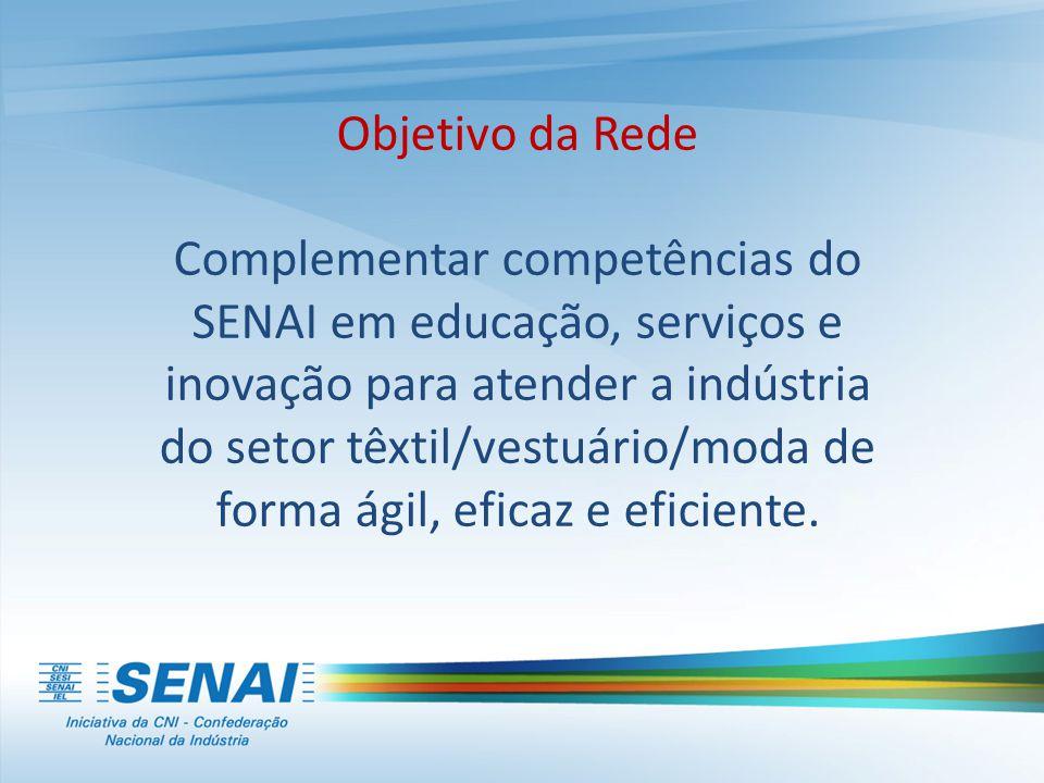 Objetivo da Rede Complementar competências do SENAI em educação, serviços e inovação para atender a indústria do setor têxtil/vestuário/moda de forma