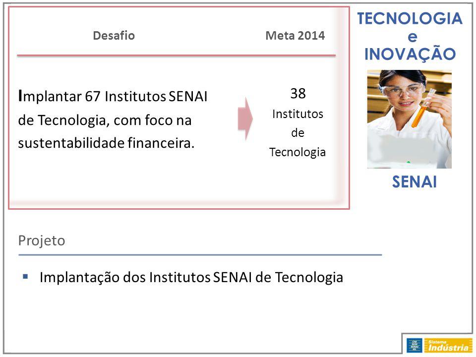 TECNOLOGIA e INOVAÇÃO I mplantar 67 Institutos SENAI de Tecnologia, com foco na sustentabilidade financeira. Projeto Desafio 38 Institutos de Tecnolog
