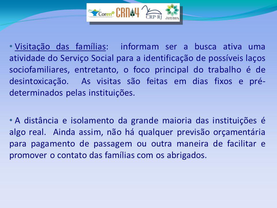 • Visitação das famílias: informam ser a busca ativa uma atividade do Serviço Social para a identificação de possíveis laços sociofamiliares, entretan