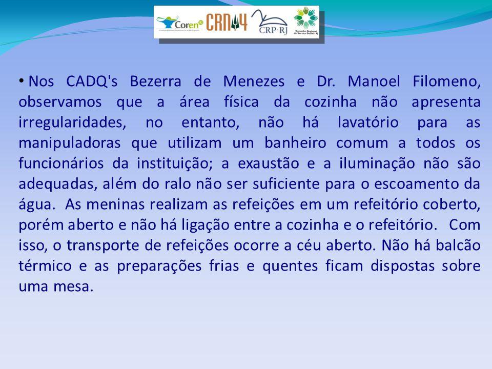 • Nos CADQ's Bezerra de Menezes e Dr. Manoel Filomeno, observamos que a área física da cozinha não apresenta irregularidades, no entanto, não há lavat