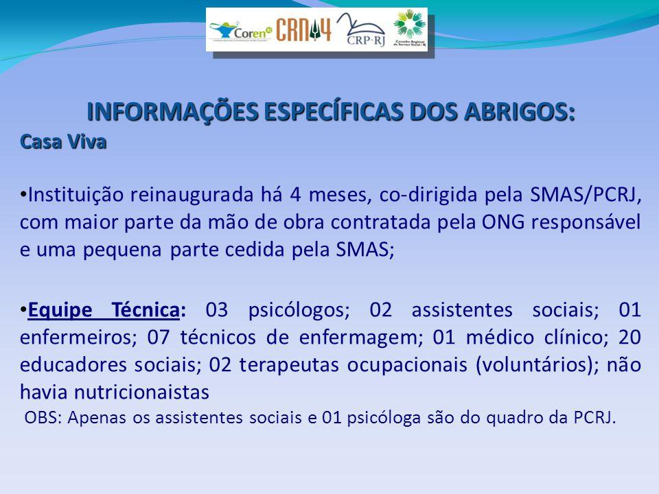 INFORMAÇÕES ESPECÍFICAS DOS ABRIGOS: Casa Viva • Instituição reinaugurada há 4 meses, co-dirigida pela SMAS/PCRJ, com maior parte da mão de obra contr