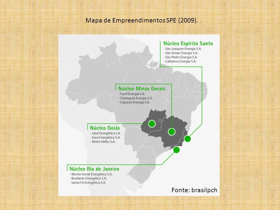 Mapa de Empreendimentos SPE (2009). Fonte: brasilpch