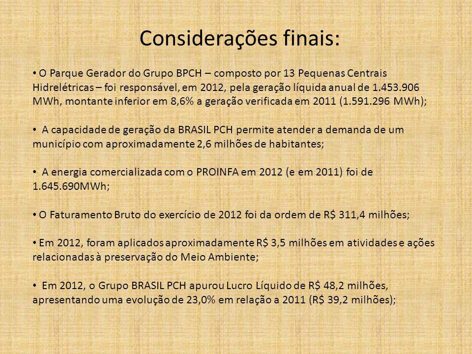 Considerações finais: • O Parque Gerador do Grupo BPCH – composto por 13 Pequenas Centrais Hidrelétricas – foi responsável, em 2012, pela geração líqu