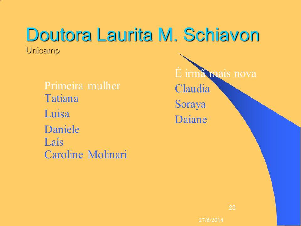 27/6/2014 23 Doutora Laurita M. Schiavon Unicamp  Primeira mulher Tatiana  Luisa  Daniele Laís Caroline Molinari  É irmã mais nova  Claudia  Sor