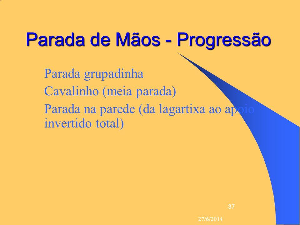 27/6/2014 37 Parada de Mãos - Progressão  Parada grupadinha  Cavalinho (meia parada)  Parada na parede (da lagartixa ao apoio invertido total)