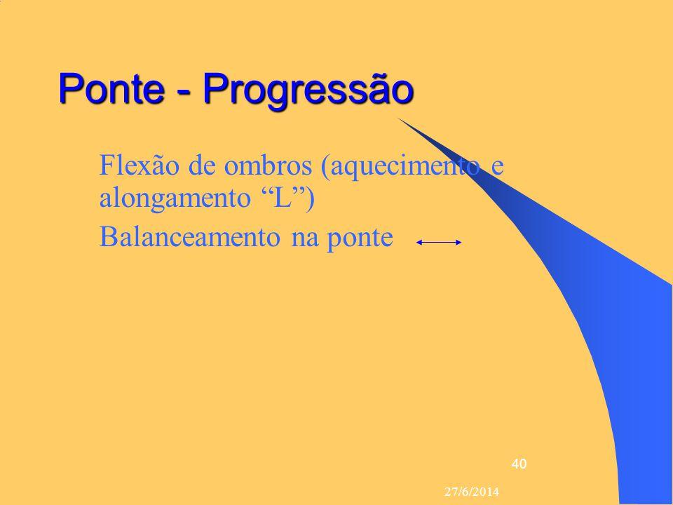 """27/6/2014 40 Ponte - Progressão  Flexão de ombros (aquecimento e alongamento """"L"""")  Balanceamento na ponte"""