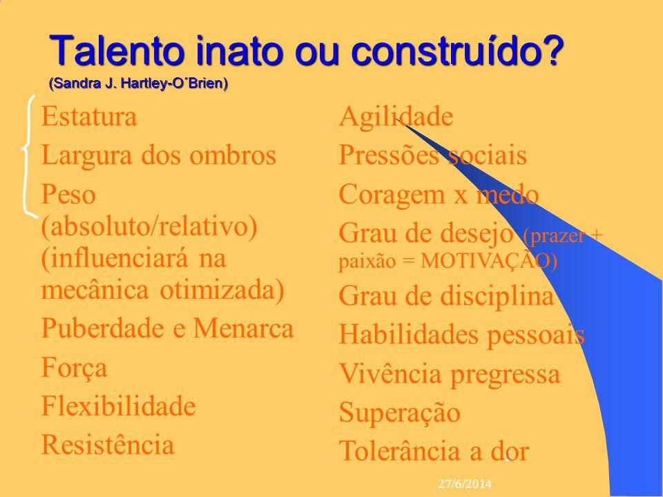 27/6/2014 5 Talento inato ou construído? (Sandra J. Hartley-O´Brien)  Estatura  Largura dos ombros  Peso (absoluto/relativo) (influenciará na mecân