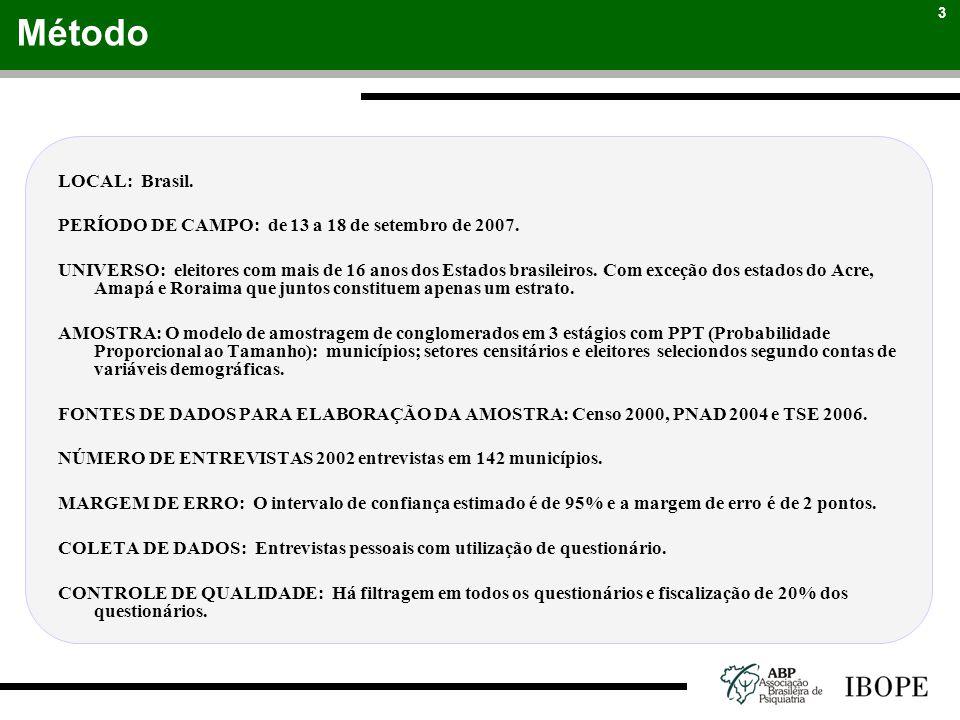3 LOCAL: Brasil. PERÍODO DE CAMPO: de 13 a 18 de setembro de 2007. UNIVERSO: eleitores com mais de 16 anos dos Estados brasileiros. Com exceção dos es