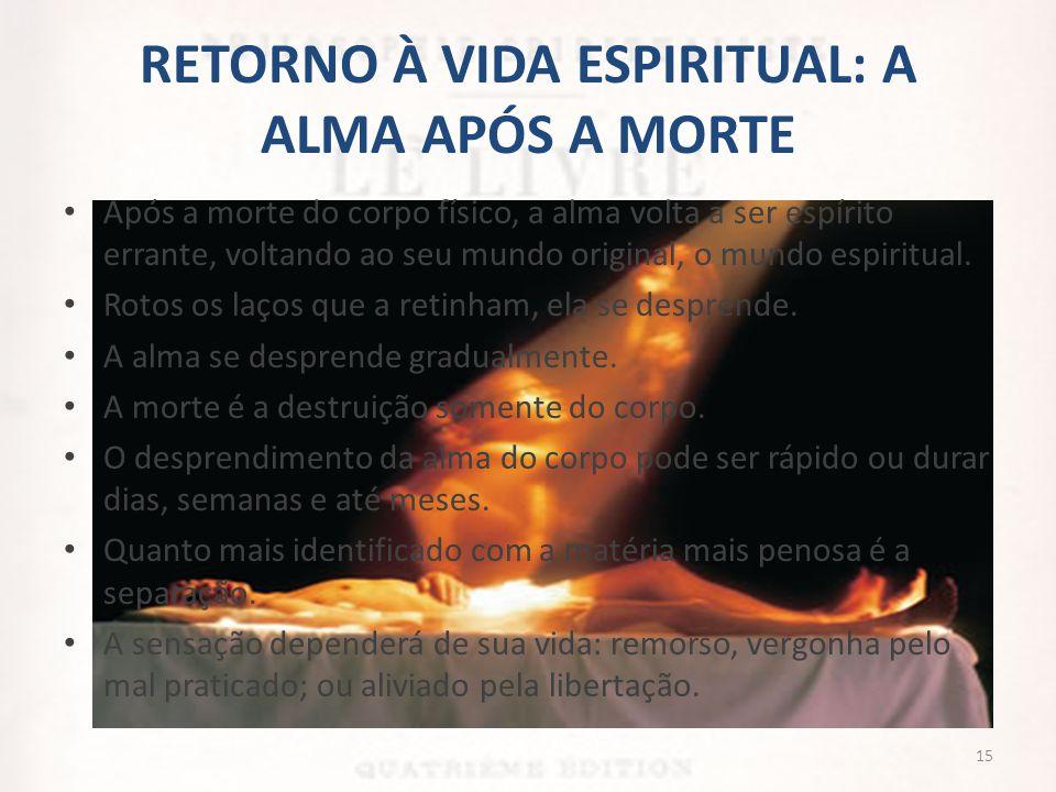 RETORNO À VIDA ESPIRITUAL: A ALMA APÓS A MORTE • Após a morte do corpo físico, a alma volta a ser espírito errante, voltando ao seu mundo original, o