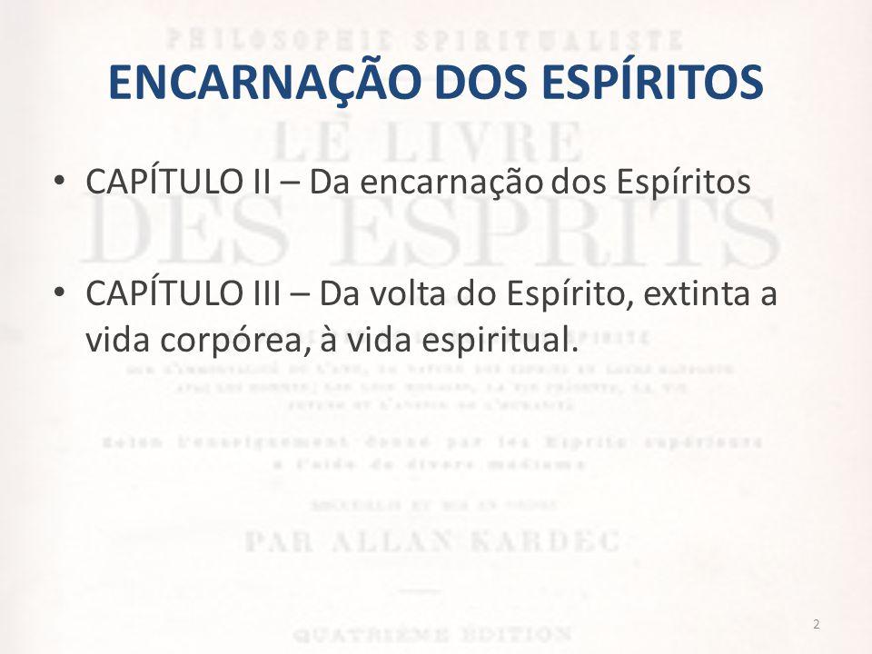 ENCARNAÇÃO DOS ESPÍRITOS • CAPÍTULO II – Da encarnação dos Espíritos • CAPÍTULO III – Da volta do Espírito, extinta a vida corpórea, à vida espiritual