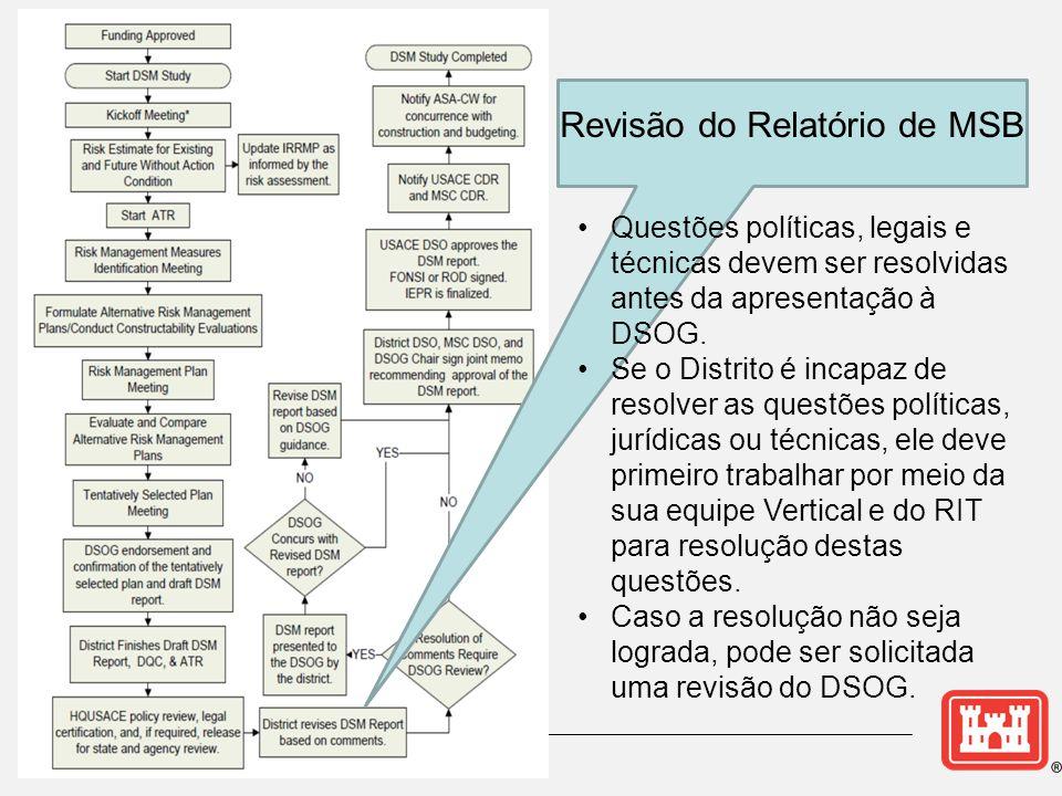 Revisão do Relatório de MSB •Questões políticas, legais e técnicas devem ser resolvidas antes da apresentação à DSOG. •Se o Distrito é incapaz de reso