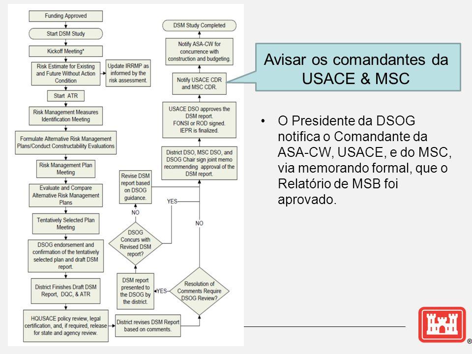 Avisar os comandantes da USACE & MSC •O Presidente da DSOG notifica o Comandante da ASA-CW, USACE, e do MSC, via memorando formal, que o Relatório de MSB foi aprovado.