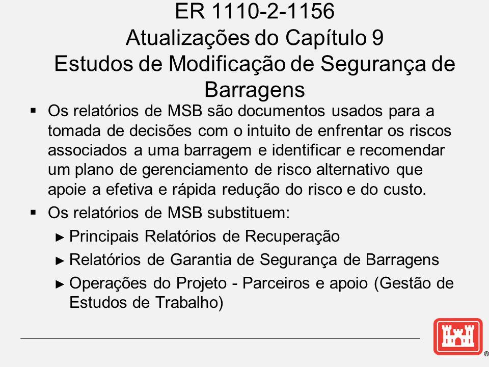 ER 1110-2-1156 Atualizações do Capítulo 9 Estudos de Modificação de Segurança de Barragens  Os relatórios de MSB são documentos usados para a tomada