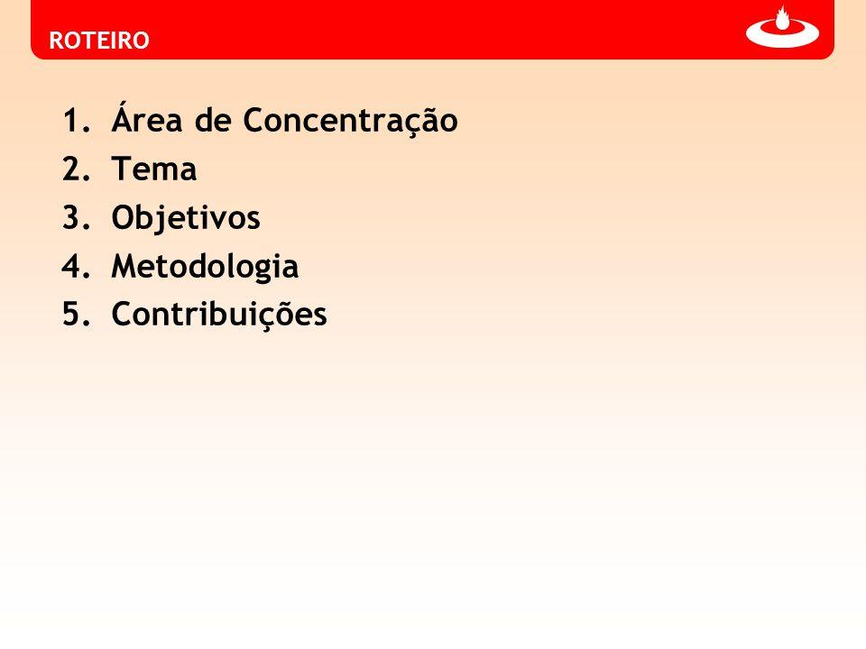 ROTEIRO 1.Área de Concentração 2.Tema 3.Objetivos 4.Metodologia 5.Contribuições
