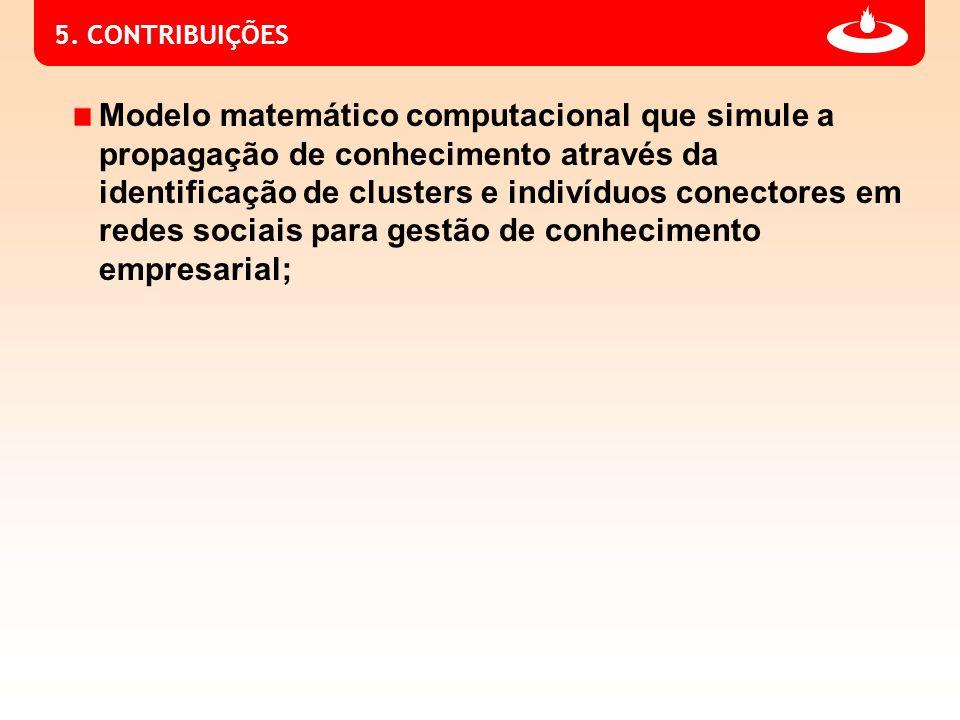 5. CONTRIBUIÇÕES Modelo matemático computacional que simule a propagação de conhecimento através da identificação de clusters e indivíduos conectores