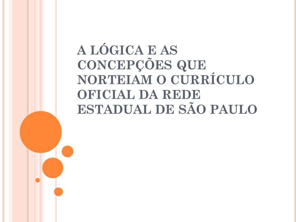 A LÓGICA E AS CONCEPÇÕES QUE NORTEIAM O CURRÍCULO OFICIAL DA REDE ESTADUAL DE SÃO PAULO