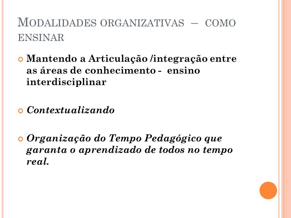 M ODALIDADES ORGANIZATIVAS – COMO ENSINAR Mantendo a Articulação /integração entre as áreas de conhecimento - ensino interdisciplinar Contextualizando