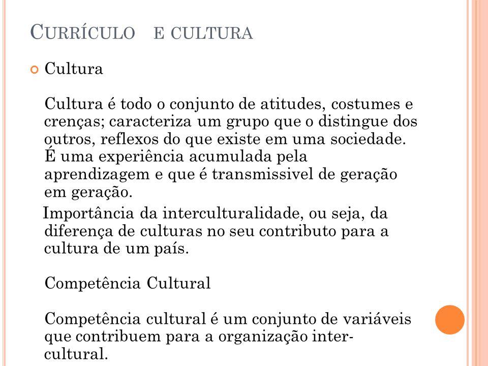 C URRÍCULO E CULTURA Cultura Cultura é todo o conjunto de atitudes, costumes e crenças; caracteriza um grupo que o distingue dos outros, reflexos do q