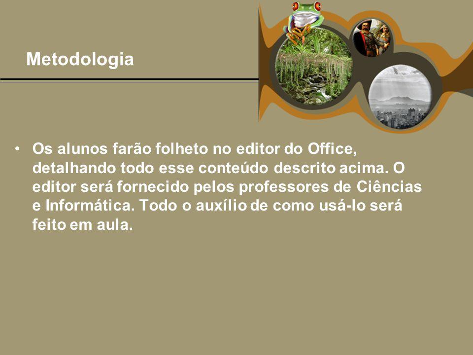 Metodologia •Os alunos farão folheto no editor do Office, detalhando todo esse conteúdo descrito acima. O editor será fornecido pelos professores de C