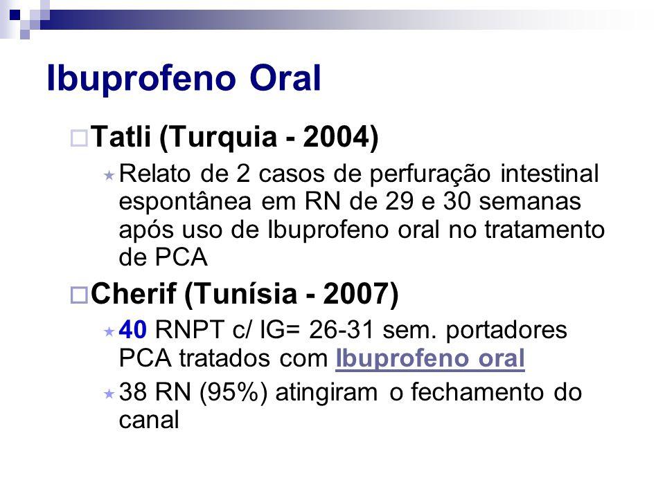 Ibuprofeno Oral  Tatli (Turquia - 2004)  Relato de 2 casos de perfuração intestinal espontânea em RN de 29 e 30 semanas após uso de Ibuprofeno oral