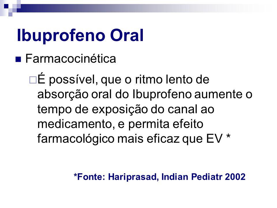  Farmacocinética  É possível, que o ritmo lento de absorção oral do Ibuprofeno aumente o tempo de exposição do canal ao medicamento, e permita efeit