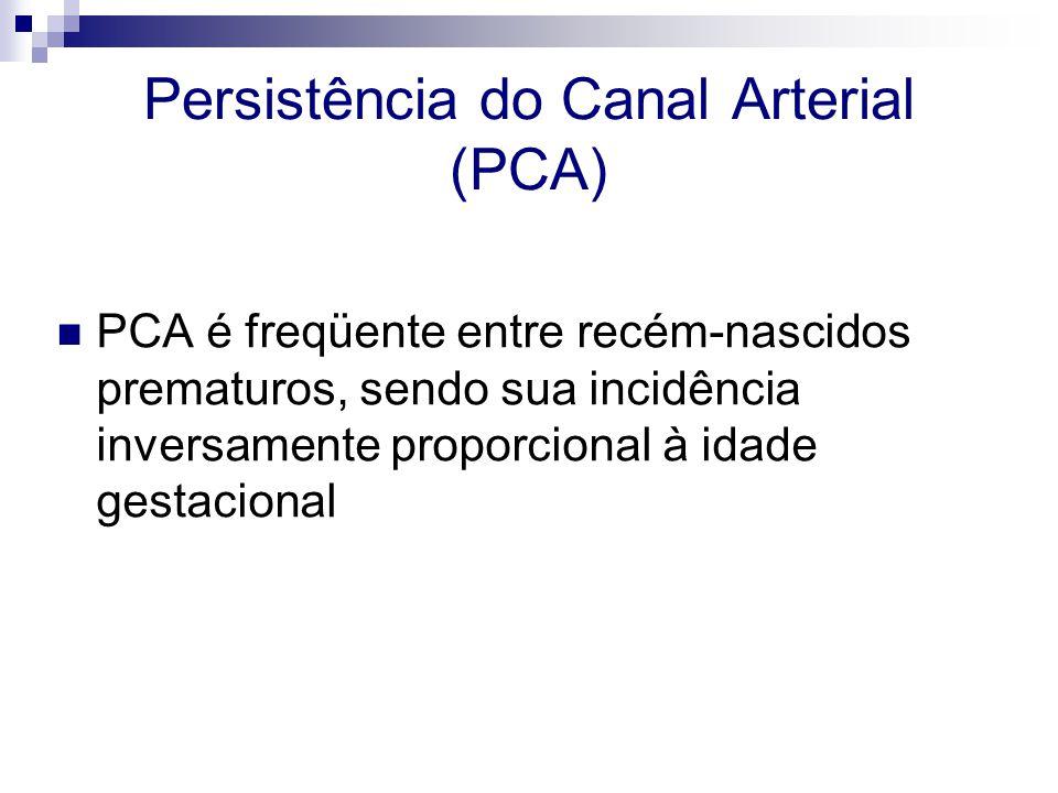 Persistência do Canal Arterial (PCA)  PCA é freqüente entre recém-nascidos prematuros, sendo sua incidência inversamente proporcional à idade gestaci