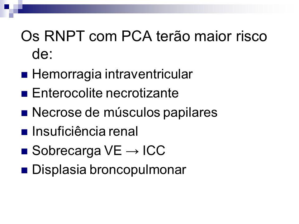 Os RNPT com PCA terão maior risco de:  Hemorragia intraventricular  Enterocolite necrotizante  Necrose de músculos papilares  Insuficiência renal