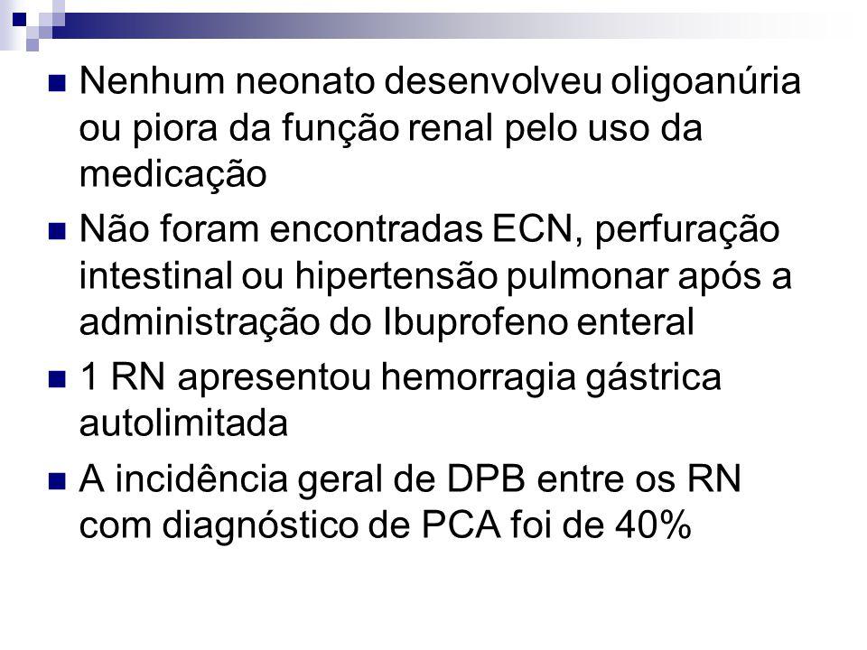  Nenhum neonato desenvolveu oligoanúria ou piora da função renal pelo uso da medicação  Não foram encontradas ECN, perfuração intestinal ou hiperten