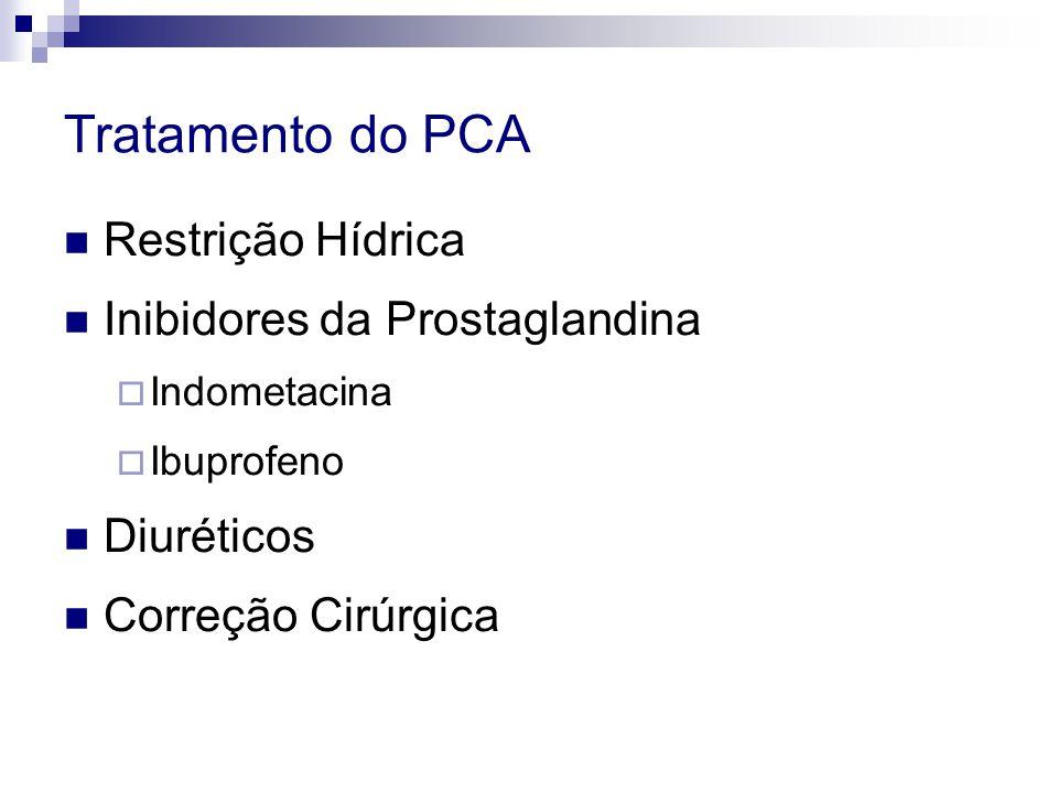 Tratamento do PCA  Restrição Hídrica  Inibidores da Prostaglandina  Indometacina  Ibuprofeno  Diuréticos  Correção Cirúrgica