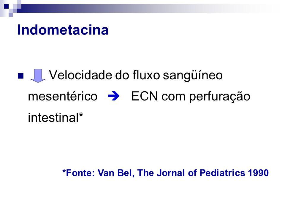 Indometacina  Velocidade do fluxo sangüíneo mesentérico  ECN com perfuração intestinal* *Fonte: Van Bel, The Jornal of Pediatrics 1990