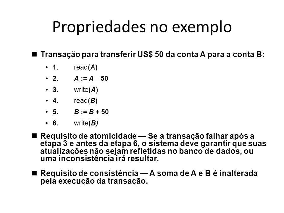 Propriedades no exemplo nTransação para transferir US$ 50 da conta A para a conta B: •1.read(A) •2.A := A – 50 •3.write(A) •4.read(B) •5.B := B + 50 •