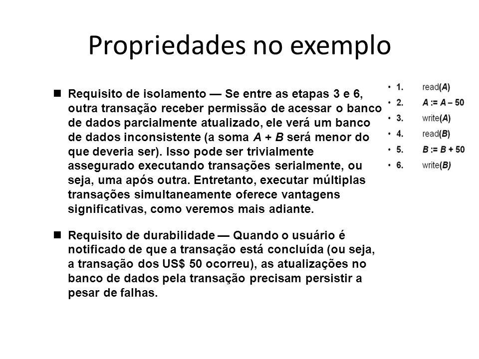 Propriedades no exemplo nRequisito de isolamento — Se entre as etapas 3 e 6, outra transação receber permissão de acessar o banco de dados parcialment