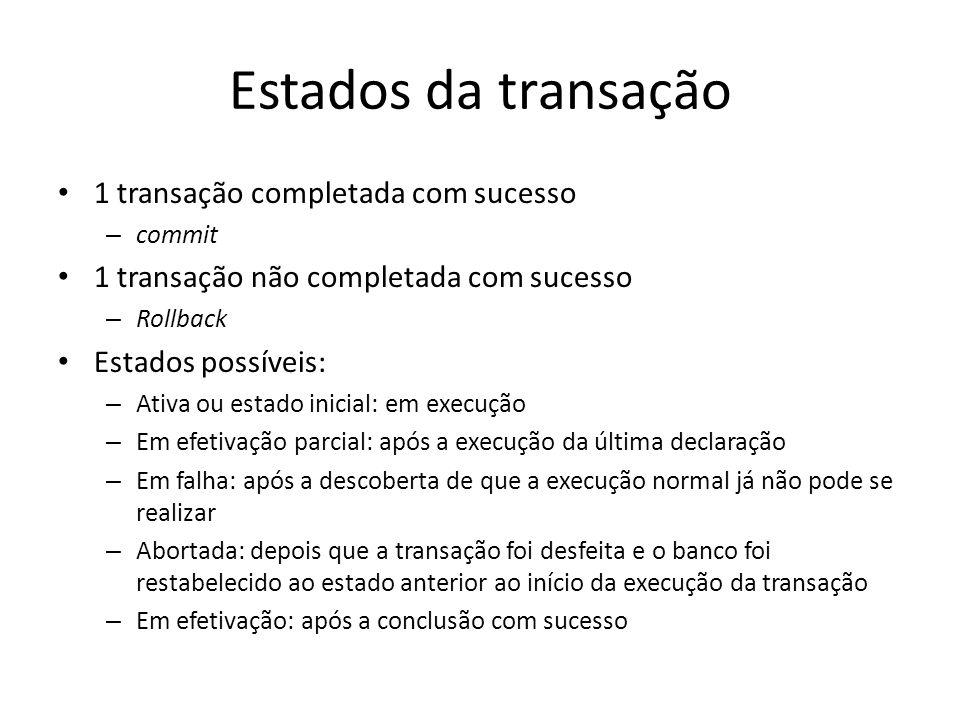 Estados da transação • 1 transação completada com sucesso – commit • 1 transação não completada com sucesso – Rollback • Estados possíveis: – Ativa ou